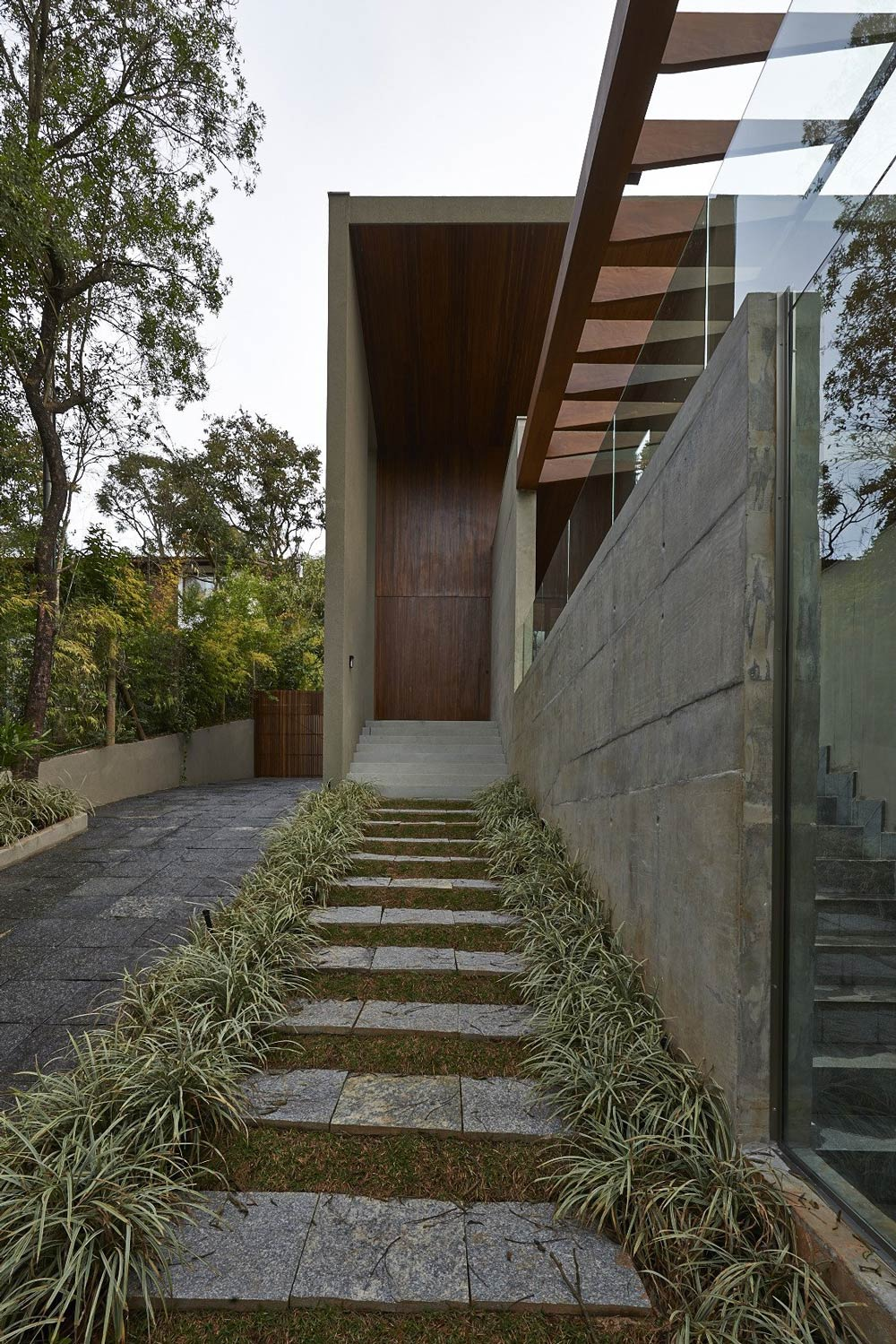 Exposed Concrete, Glass Balustrading, Steps, Contemporary Home in Nova Lima, Brazil
