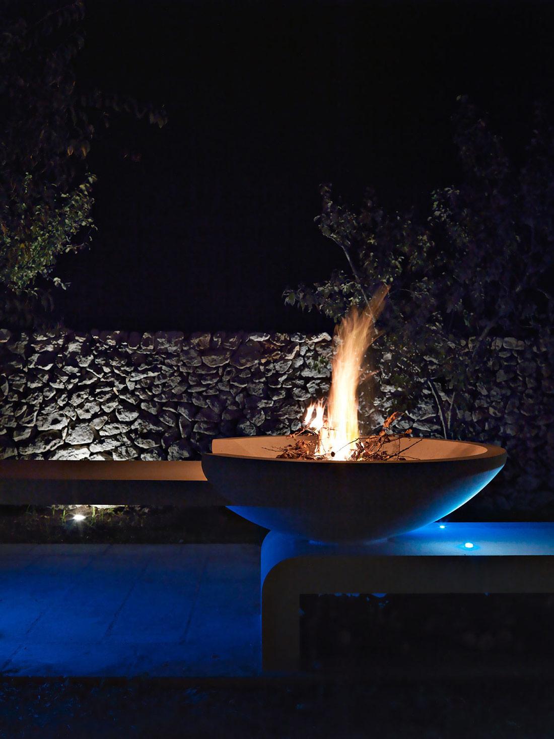 Fire Pit, Blue Lighting, Relais Masseria Capasa Hotel in Martano, Italy