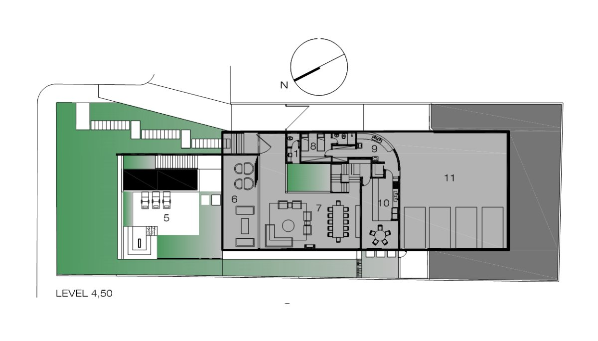 First Floor Plan, Contemporary Home in Nova Lima, Brazil