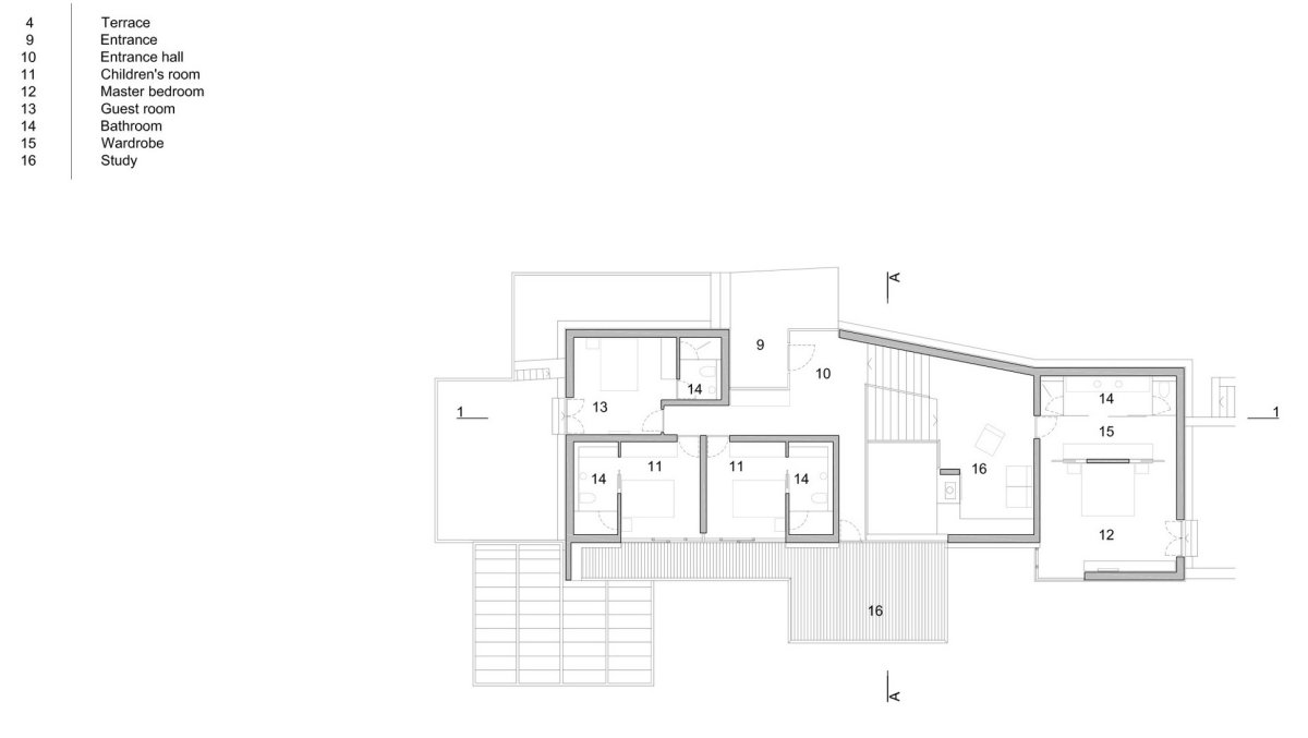 First Floor Plan, House in Dubrovnik, Croatia