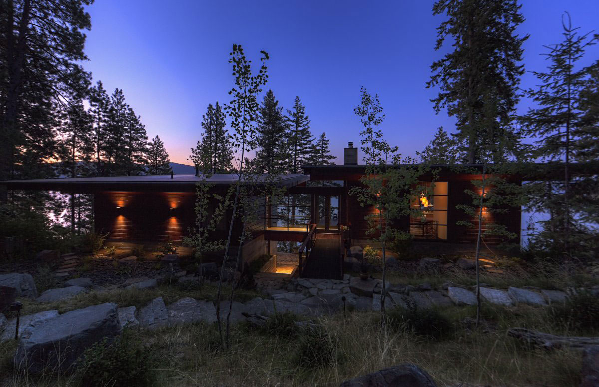 Garden, Pathway, Evening, Lighting, Modern Lakefront Cabin in Idaho, USA