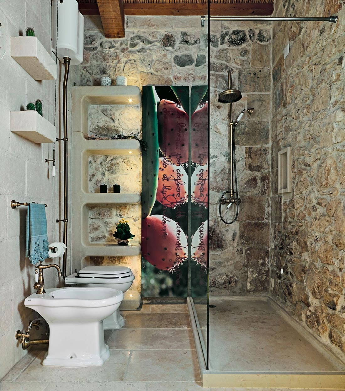 Glass Shower, Shelves, Relais Masseria Capasa Hotel in Martano, Italy
