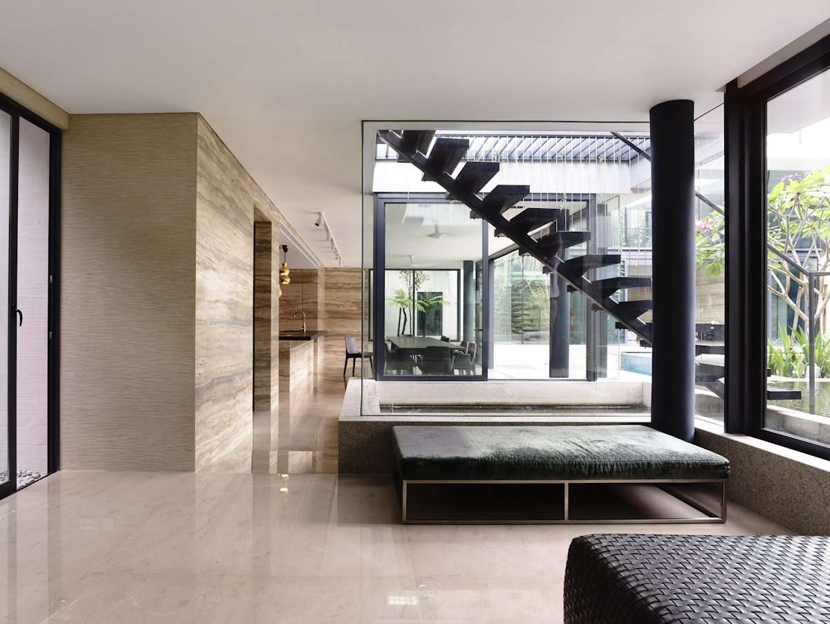 Glass Walls, Stairs, Marble Walls, Home in Singapore