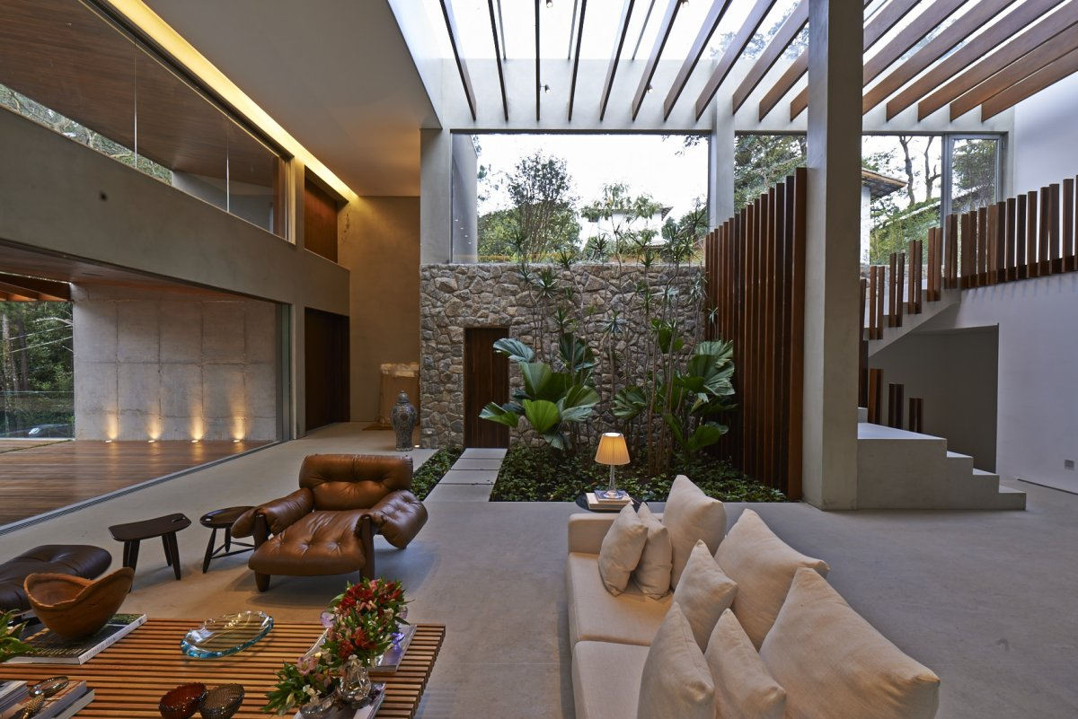 Indoor Garden, Glass Roof, Contemporary Home in Nova Lima, Brazil