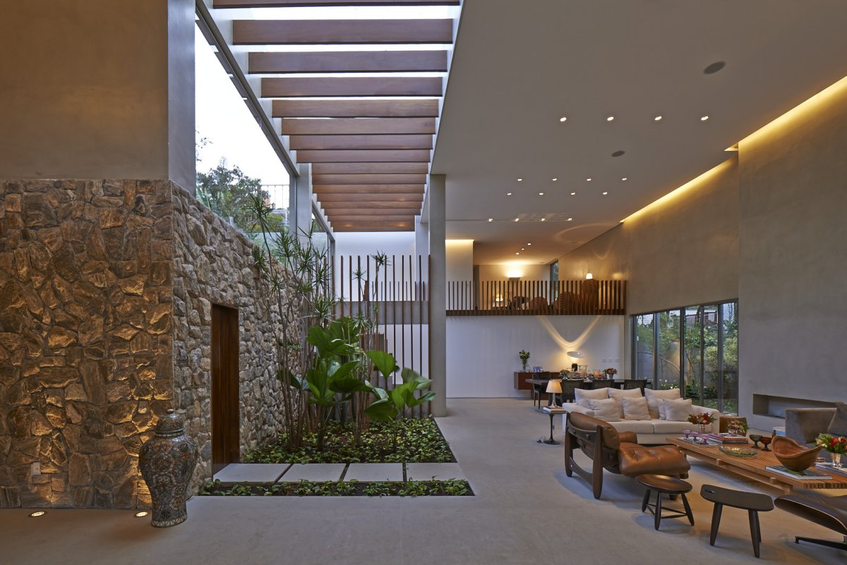 Indoor Garden, Stone Wall, Living Space, Contemporary Home in Nova Lima, Brazil
