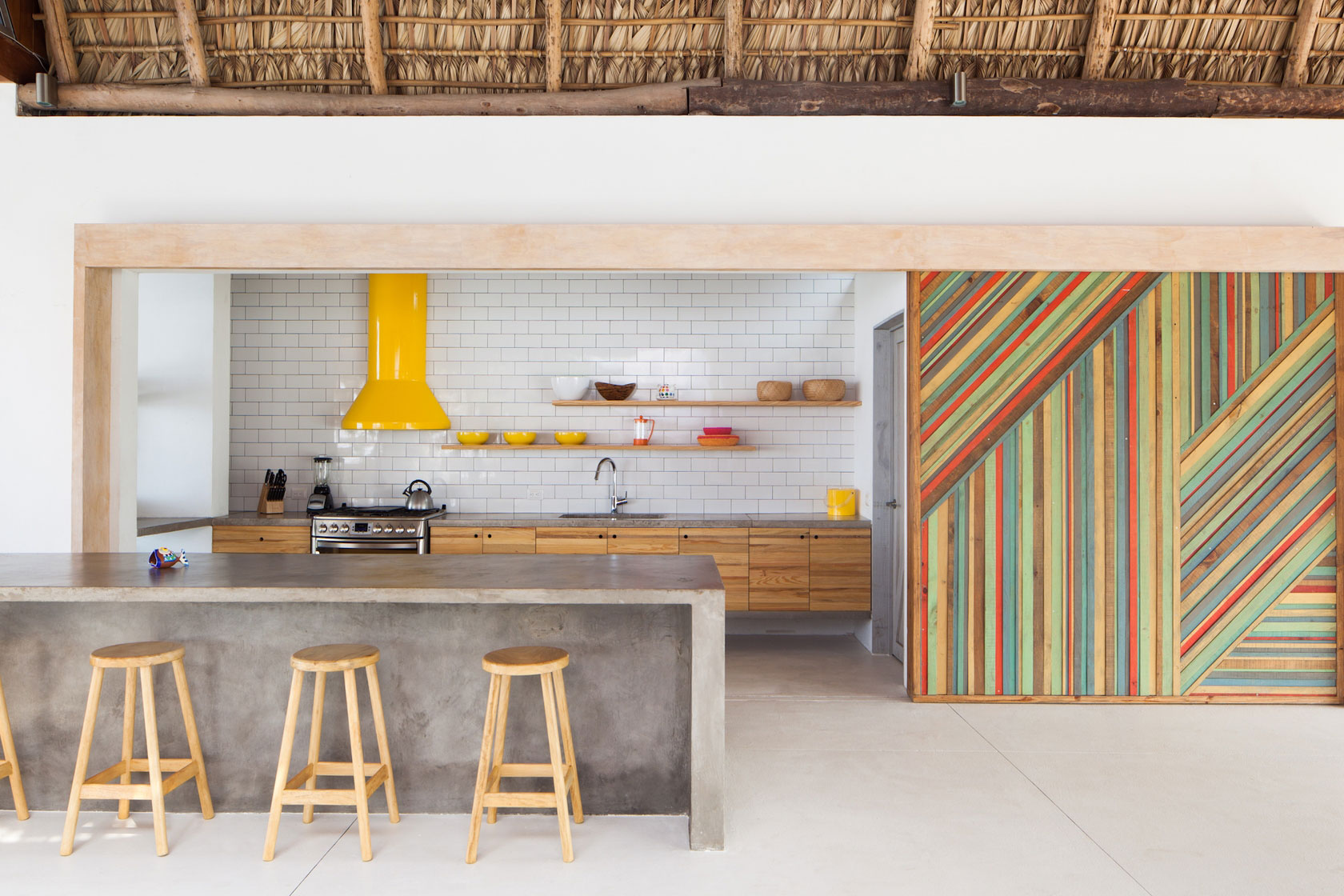 Kitchen, Breakfast Bar, Colorful Wall, Beach House in San Salvador, El Salvador