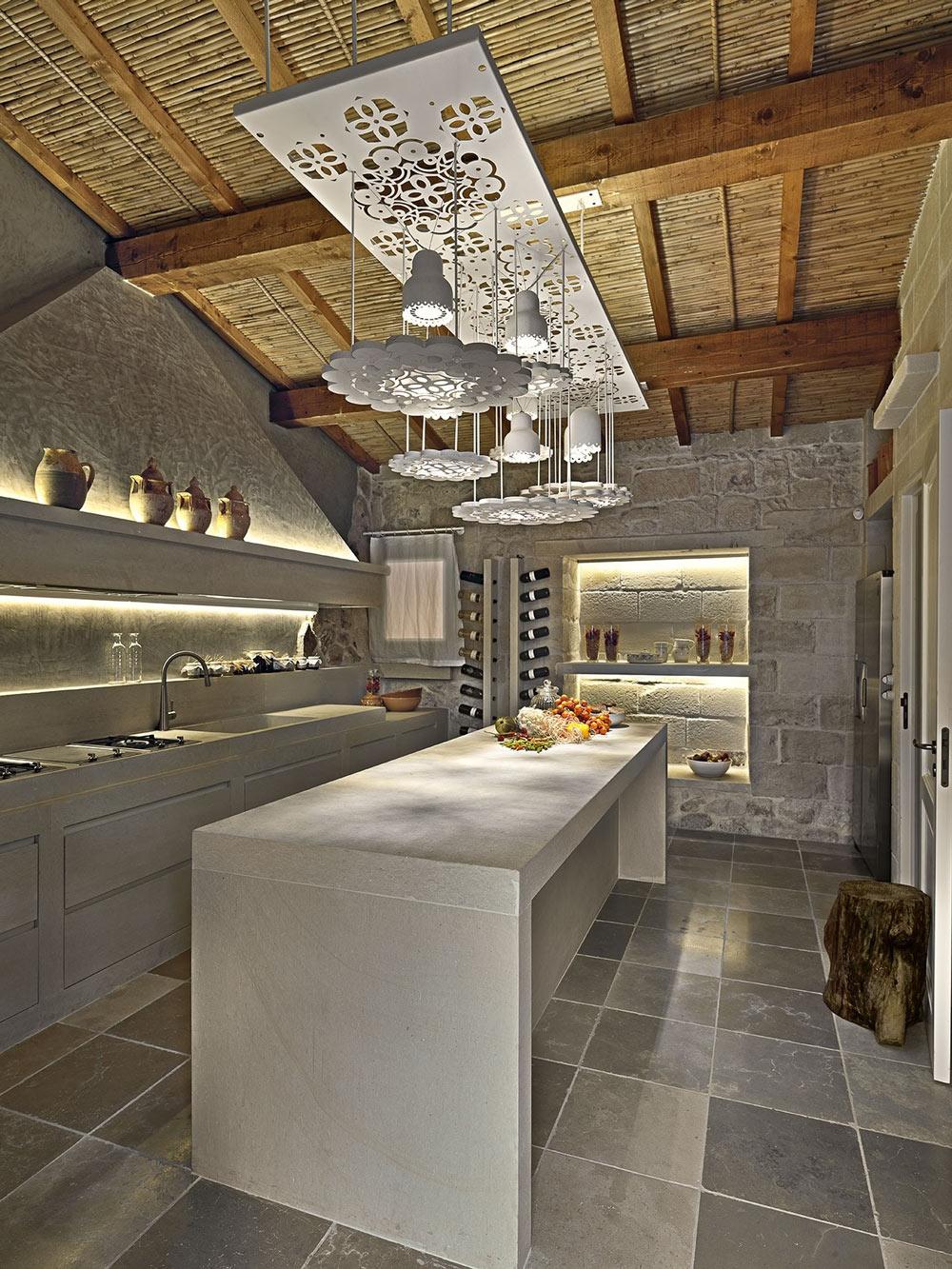 Kitchen Island, Lighting, Relais Masseria Capasa Hotel in Martano, Italy
