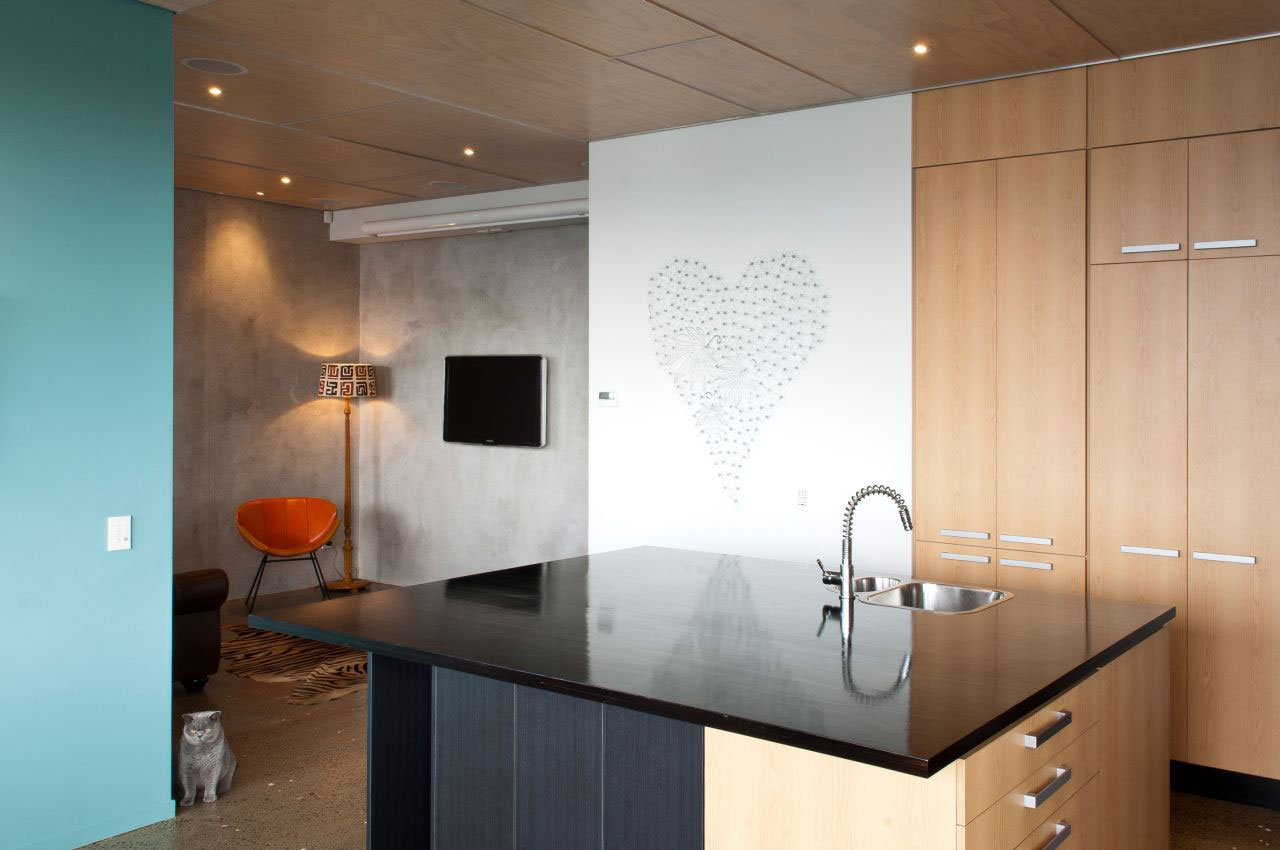 Kitchen Island, Living Room, Hillside Home in Wellington, New Zealand