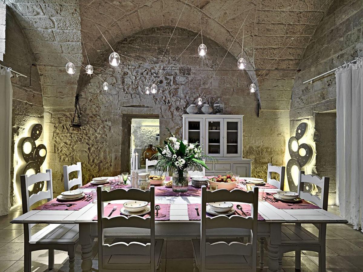 Large Dining Table, Lighting, Relais Masseria Capasa Hotel in Martano, Italy