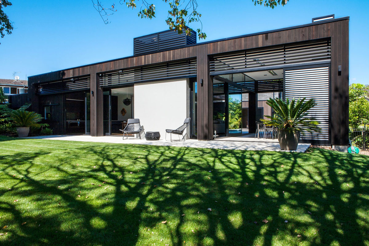 large glass sliding doors modern house in auckland new