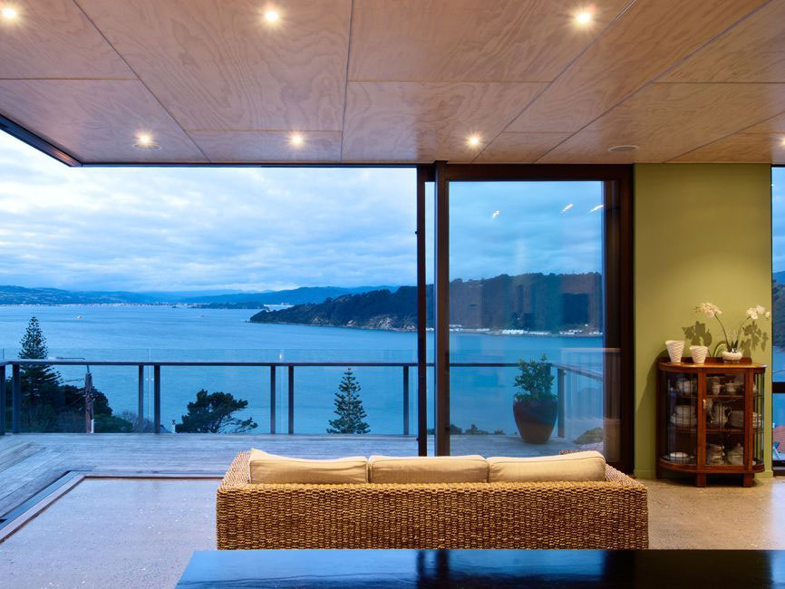 Living Room, Views, Hillside Home in Wellington, New Zealand