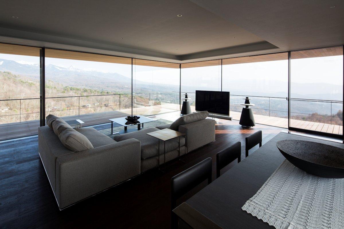 Living Space, Balcony, Views, Mountain House in Nagano, Japan