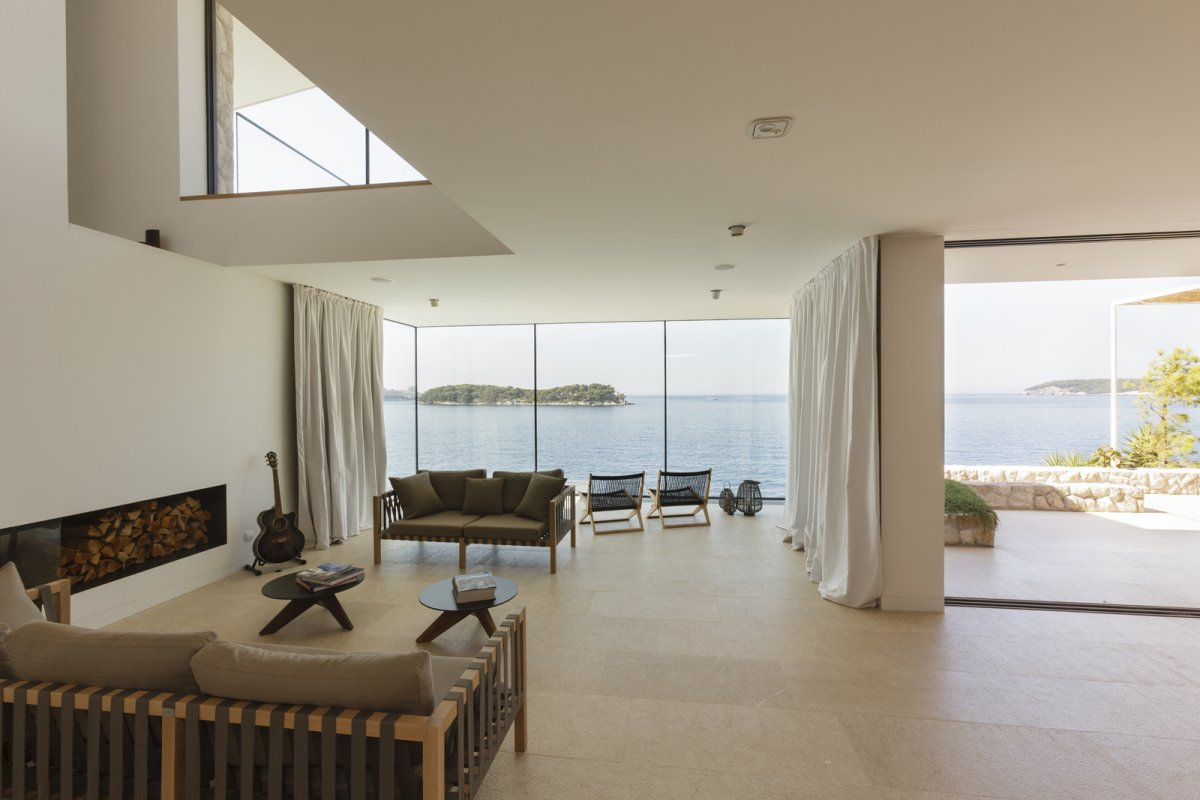 Living Space, Glass Walls, House in Dubrovnik, Croatia