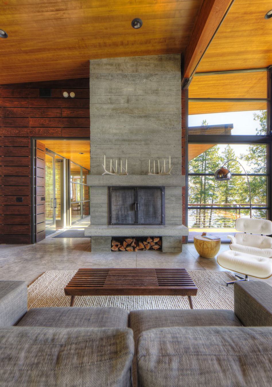 Contemporary Fireplace, Modern Lakefront Cabin in Idaho, USA