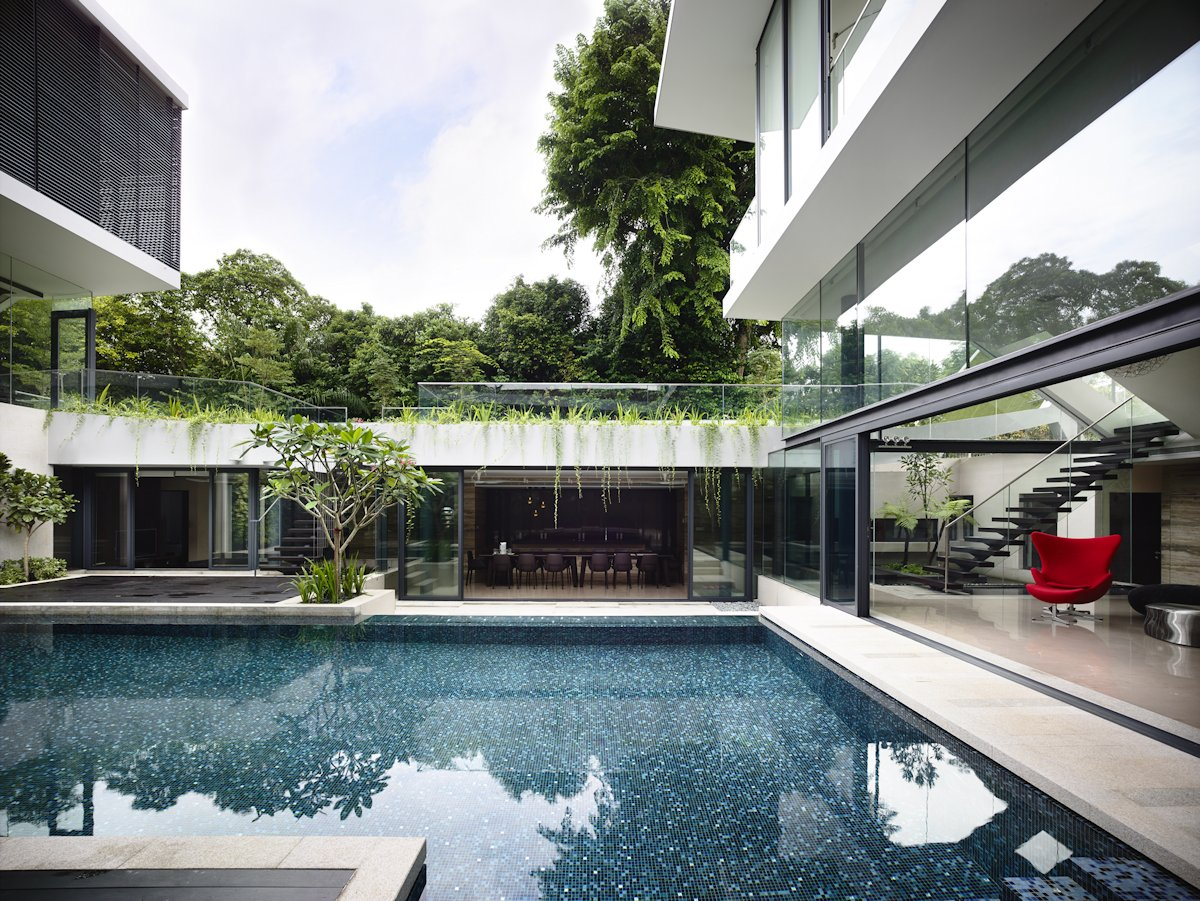 Outdoor Pool, Patio Doors, Glass Walls, Home in Singapore