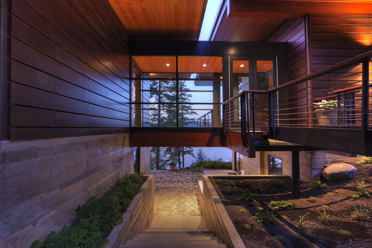 Outdoor Stairs, Bridge, Entrance, Modern Lakefront Cabin in Idaho, USA