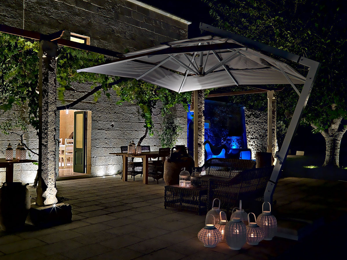 Outdoor Table, Lighting, Parasol, Relais Masseria Capasa Hotel in Martano, Italy
