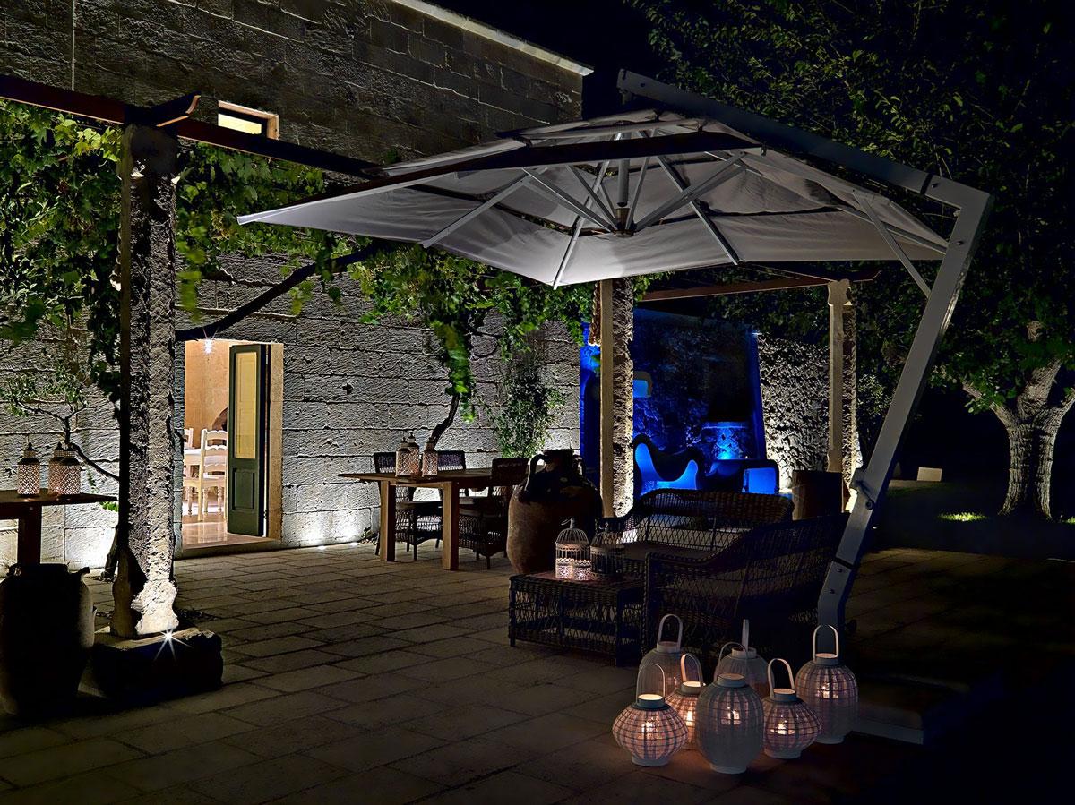 Outdoor Table, Lighting, Parasol, Relais Masseria Capasa Hotel in Martano, Italy