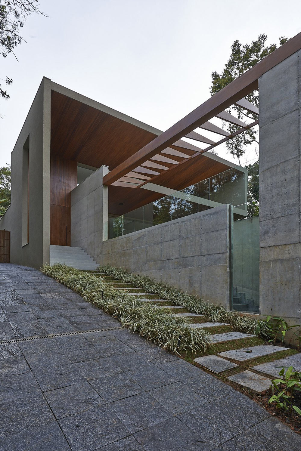 Pathway, Steps, Contemporary Home in Nova Lima, Brazil