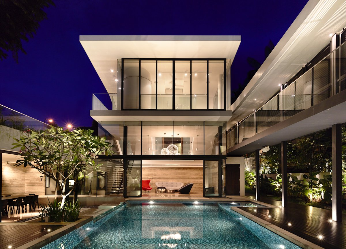 Pool Lighting, Evening, Terrace, Home in Singapore