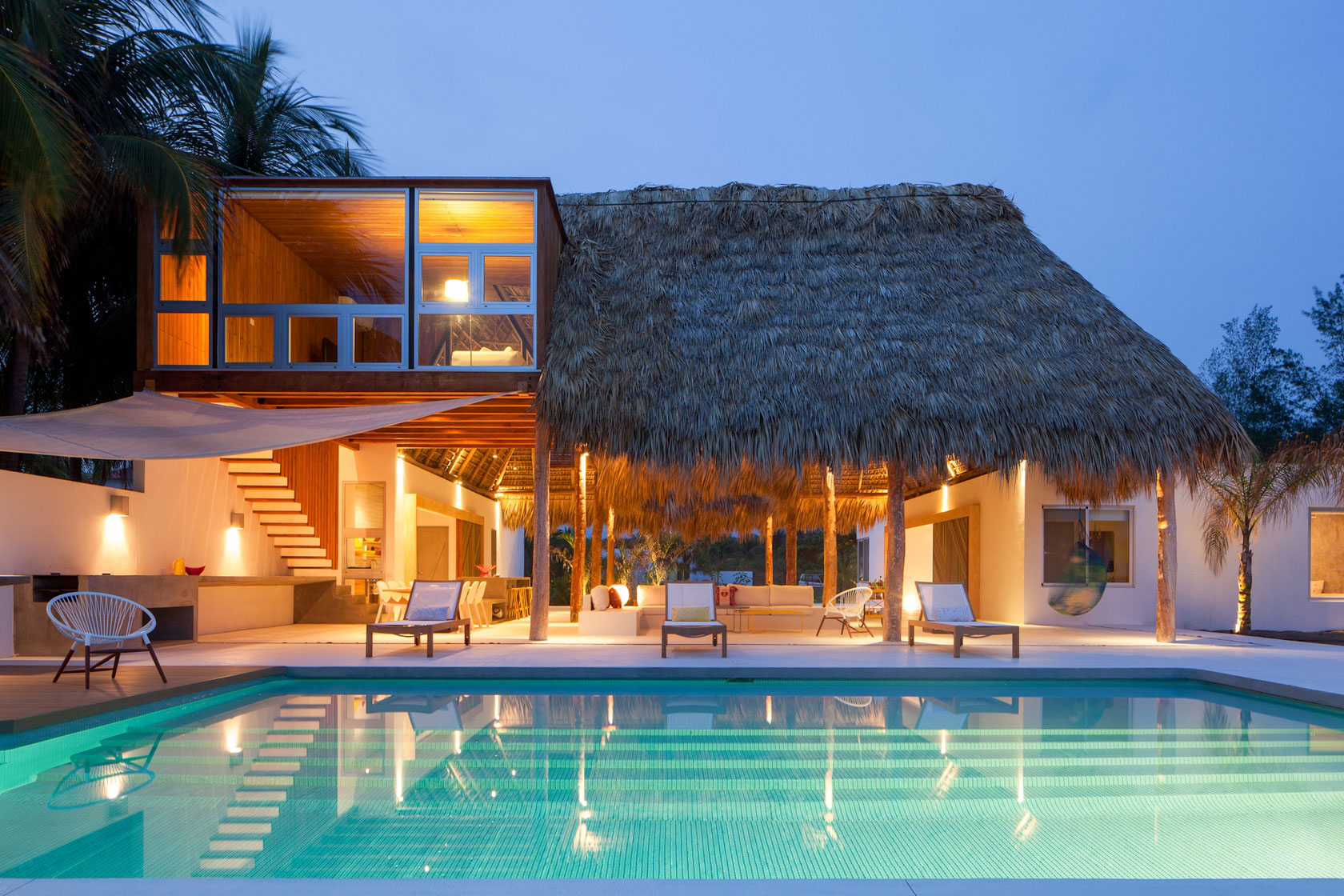 Pool, Terrace, Garden Furniture, Beach House in San Salvador, El Salvador