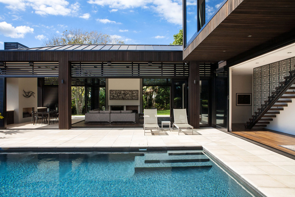 Pool, Terrace, Stairs, Living Space, Modern House in Auckland, New Zealand