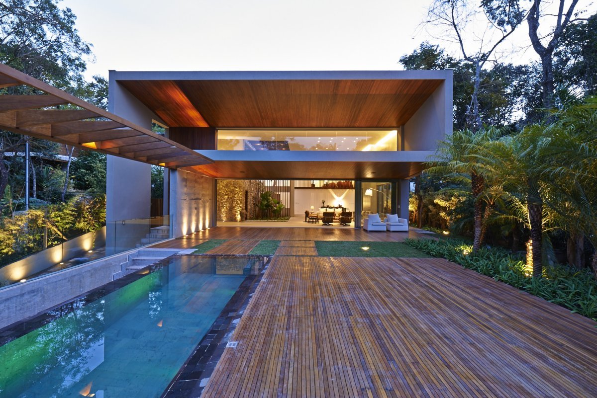 Pool, Wooden Terrace, Outdoor Living, Contemporary Home in Nova Lima, Brazil