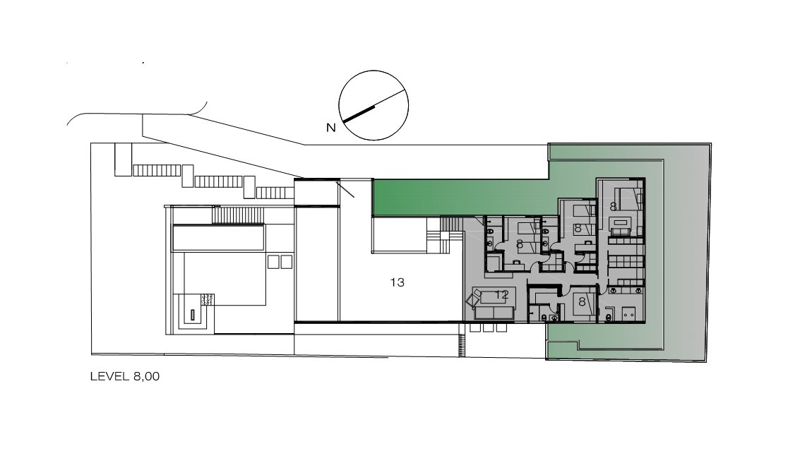 Second Floor Plan, Contemporary Home in Nova Lima, Brazil
