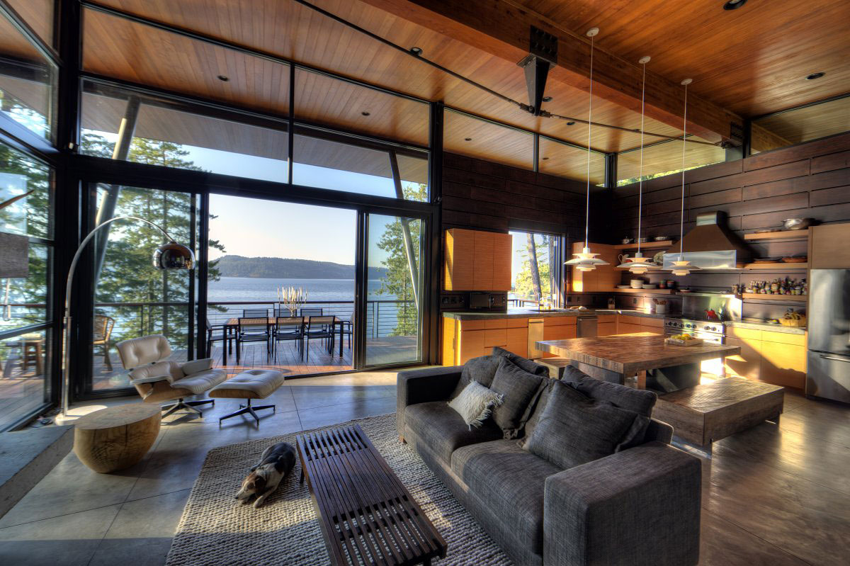 Sofa, Coffee Table, Living, Dining & Kitchen area, Modern Lakefront Cabin in Idaho, USA