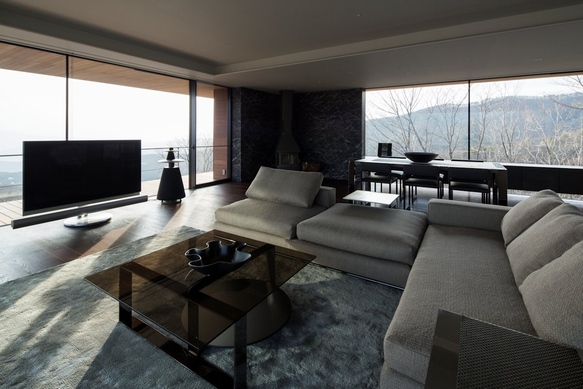 Sofa, Rug, Coffee Table, Living Space, Mountain House in Nagano, Japan