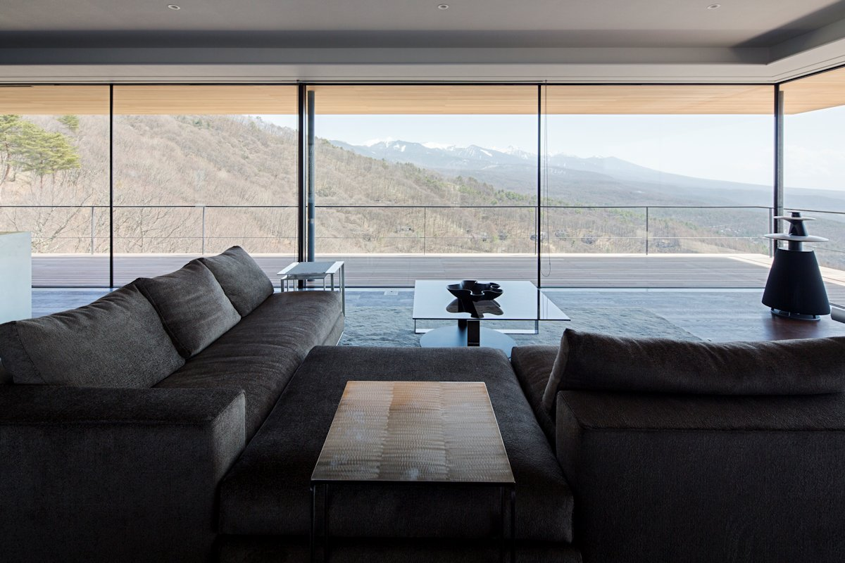 Sofas, Glass Walls, Views, Mountain House in Nagano, Japan