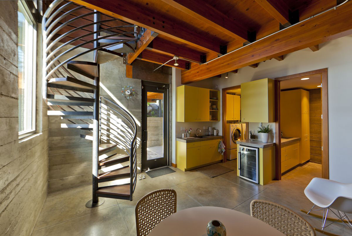 Spiral Staircase, Kitchen, Dining Space, Modern Lakefront Cabin in Idaho, USA