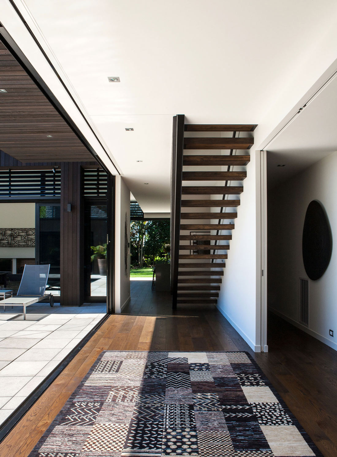 Stairs, Large Glass Sliding Doors, Modern House in Auckland, New Zealand