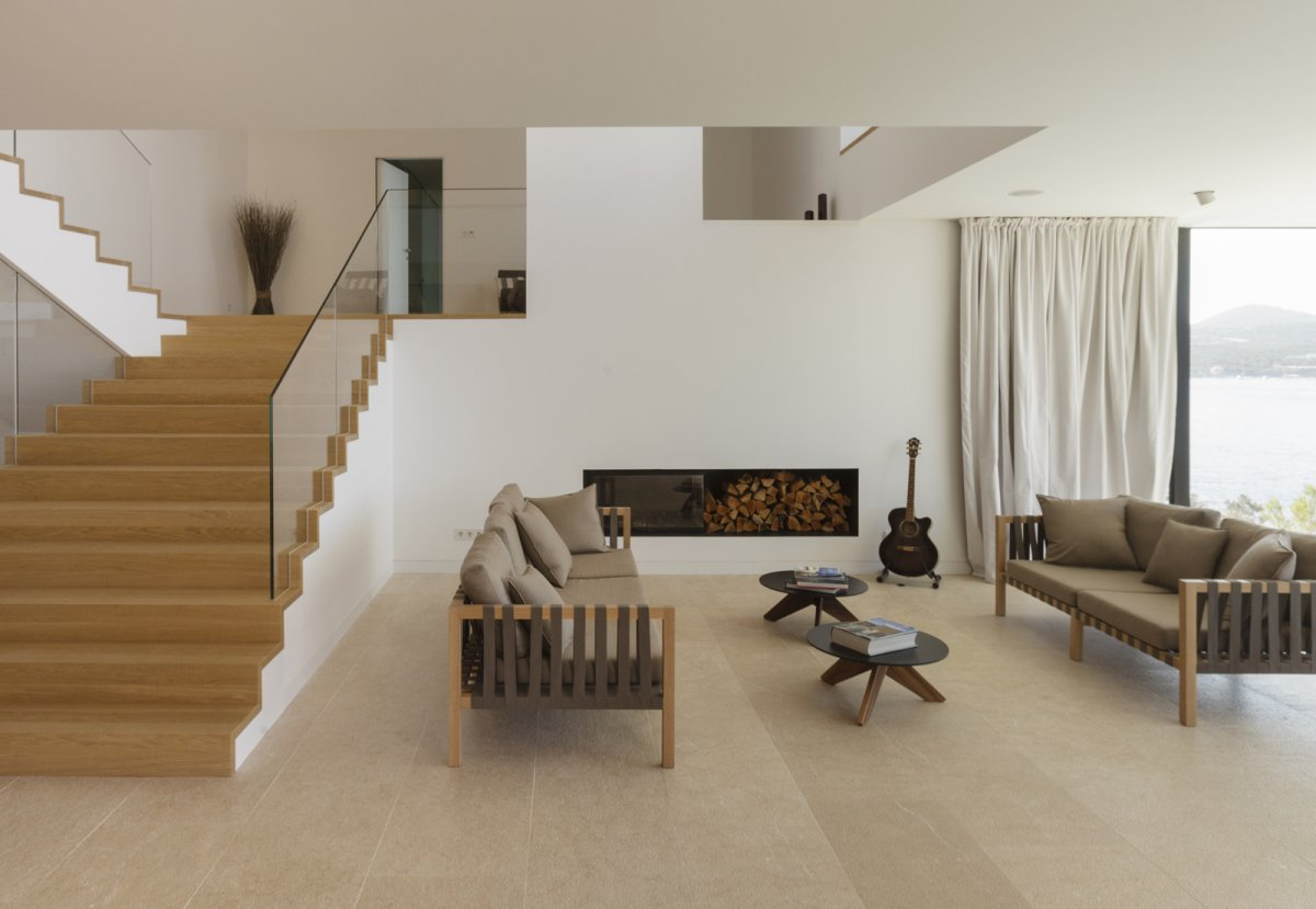 Stairs, Sofas, Fireplace, Wood Store, House in Dubrovnik, Croatia