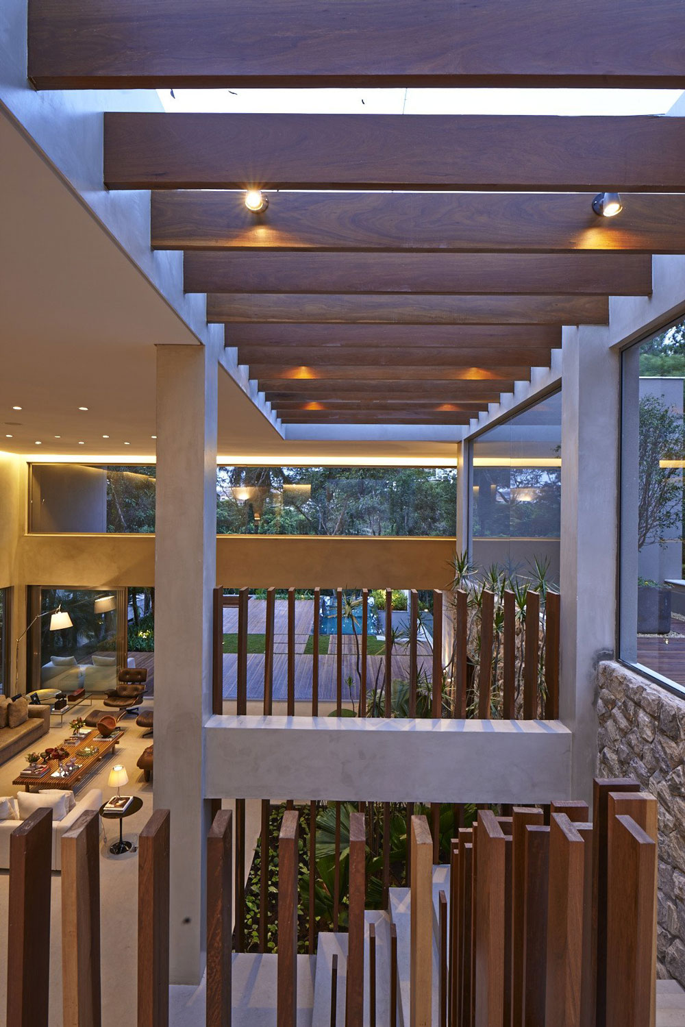 Wood & Concrete Stairs, Contemporary Home in Nova Lima, Brazil