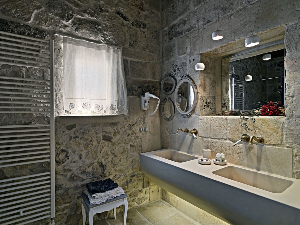 Stone Bathroom, Sinks, Relais Masseria Capasa Hotel in Martano, Italy