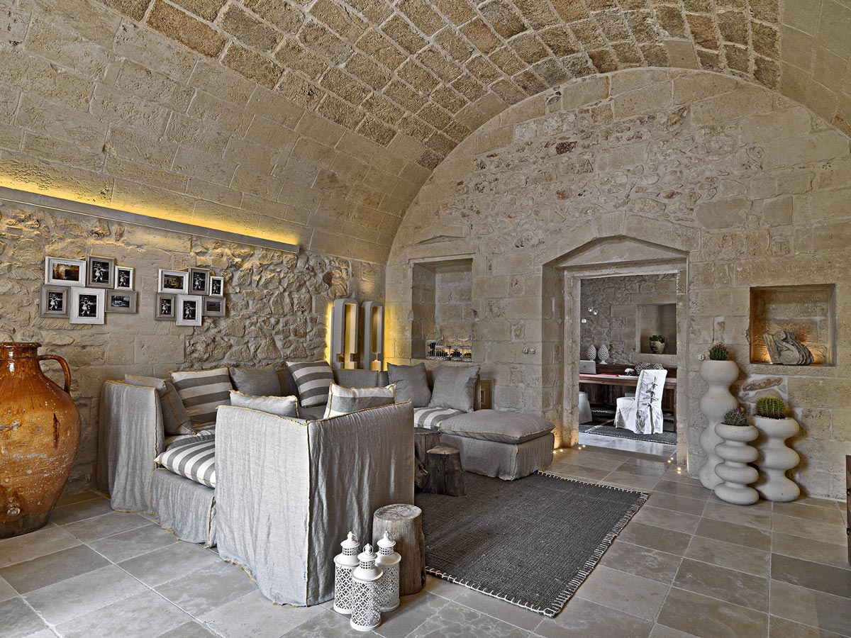 Stone Living Room, Lighting, Relais Masseria Capasa Hotel in Martano, Italy