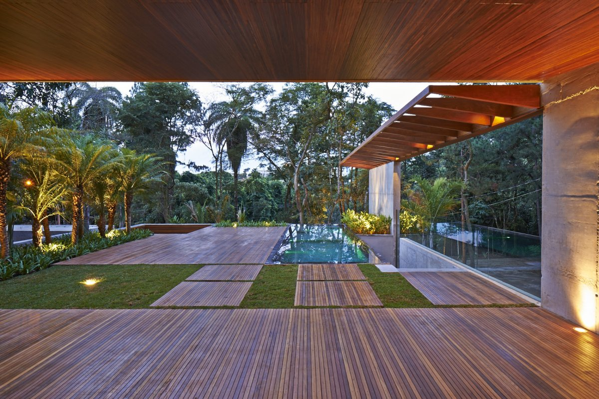 Terrace, Pool, Jungle View, Contemporary Home in Nova Lima, Brazil