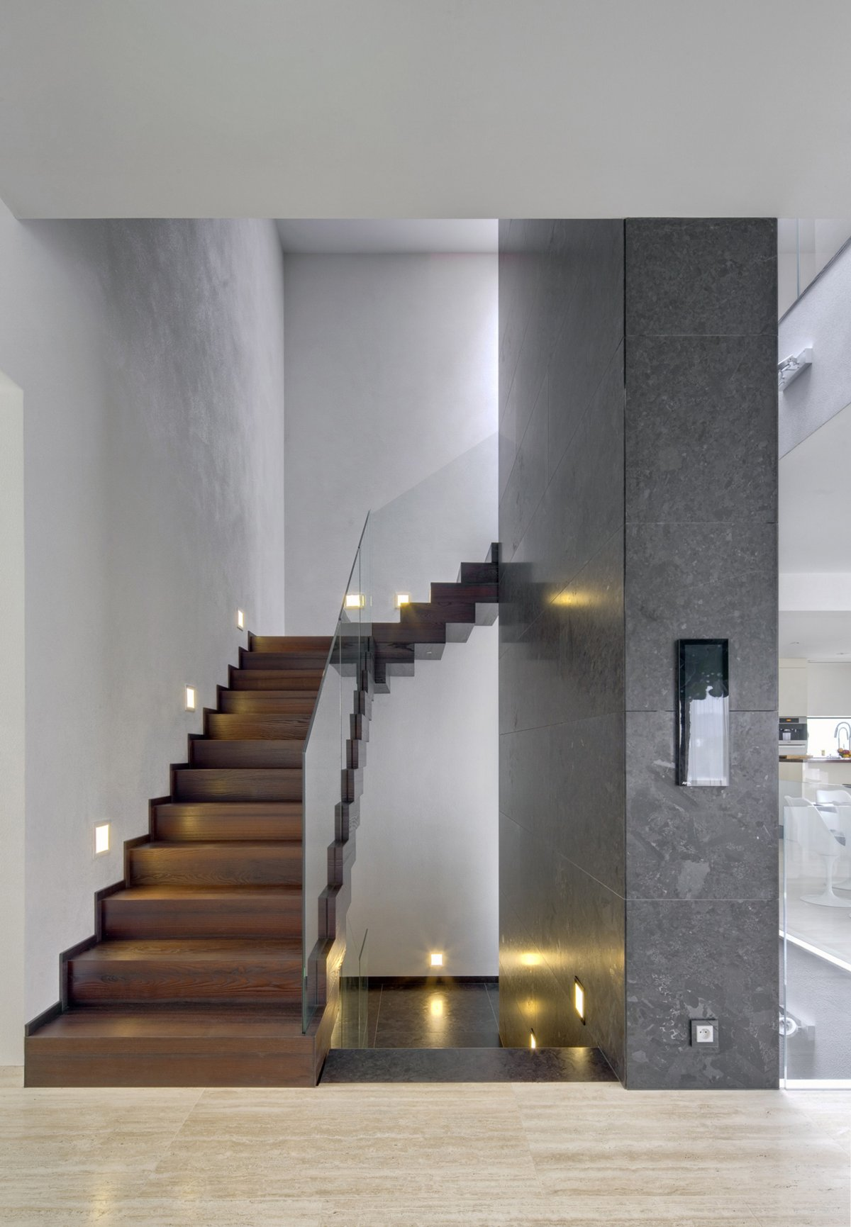 Wood & Glass Stairs, Tiles, Home in Decín, Czech Republic