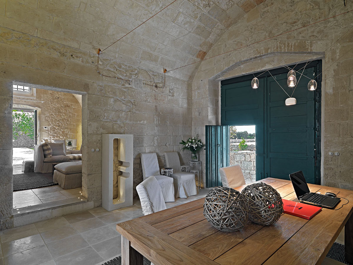 Wood Table, Large Doors, Relais Masseria Capasa Hotel in Martano, Italy