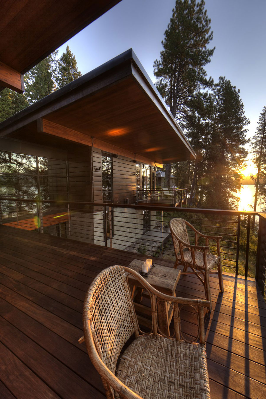Wooden Balcony, Modern Lakefront Cabin in Idaho, USA