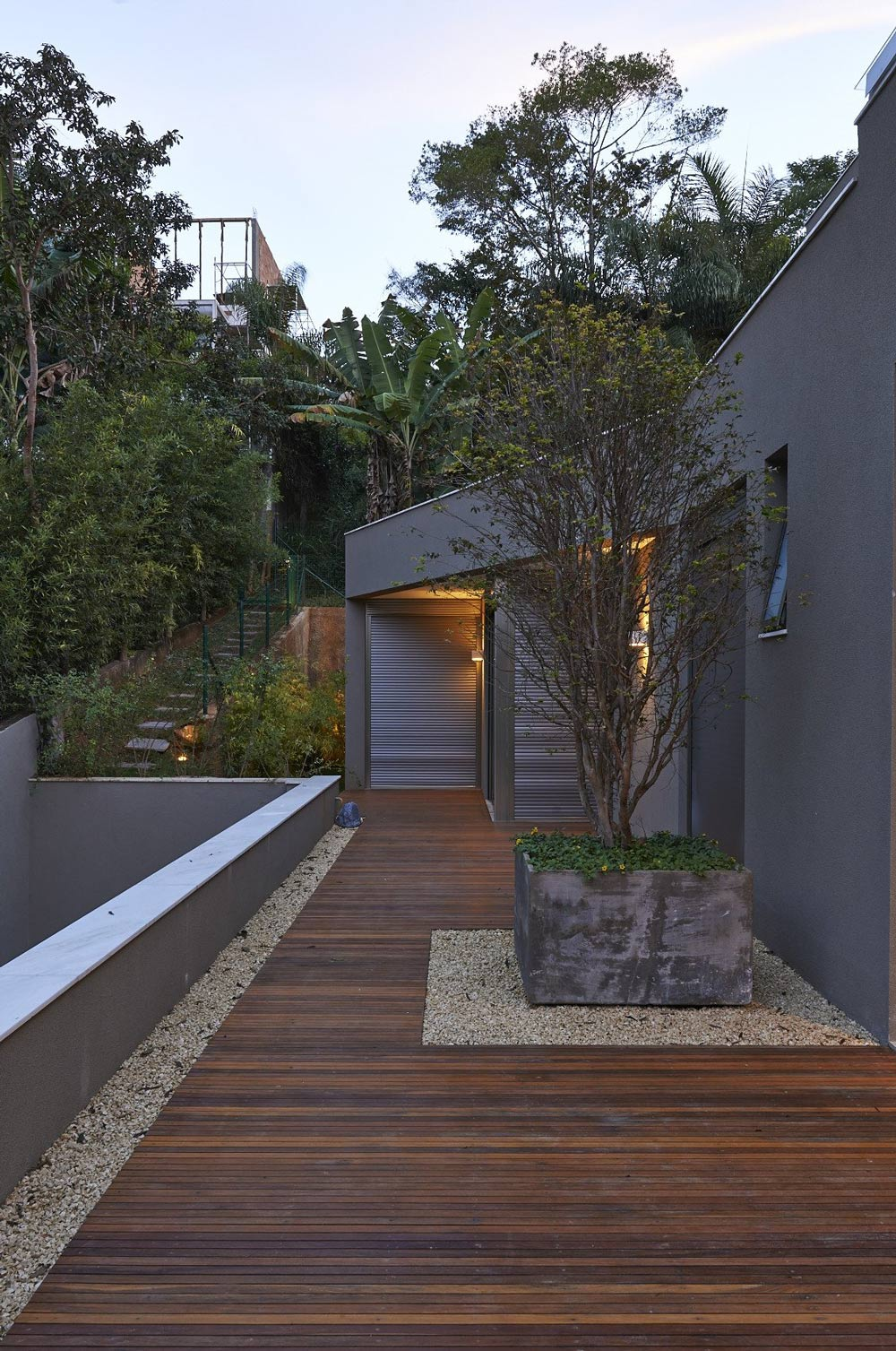 Wooden Deck, Concrete Planter, Contemporary Home in Nova Lima, Brazil