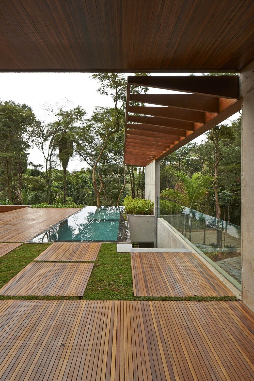 Wooden Deck, Pool, Contemporary Home in Nova Lima, Brazil