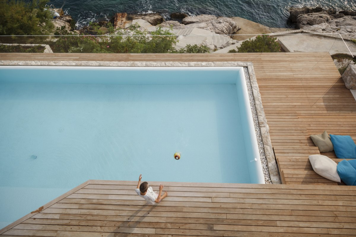 Wooden Deck, Pool, House in Dubrovnik, Croatia