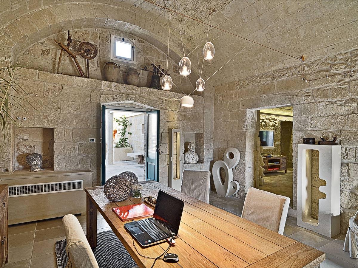 Wooden Dining Table, Lighting, Relais Masseria Capasa Hotel in Martano, Italy