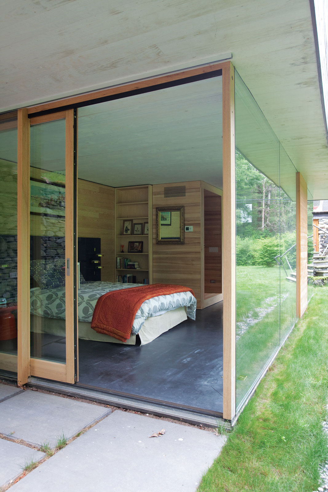 Bedroom, Glass Sliding Doors, Rural Retreat in Bantam, Connecticut