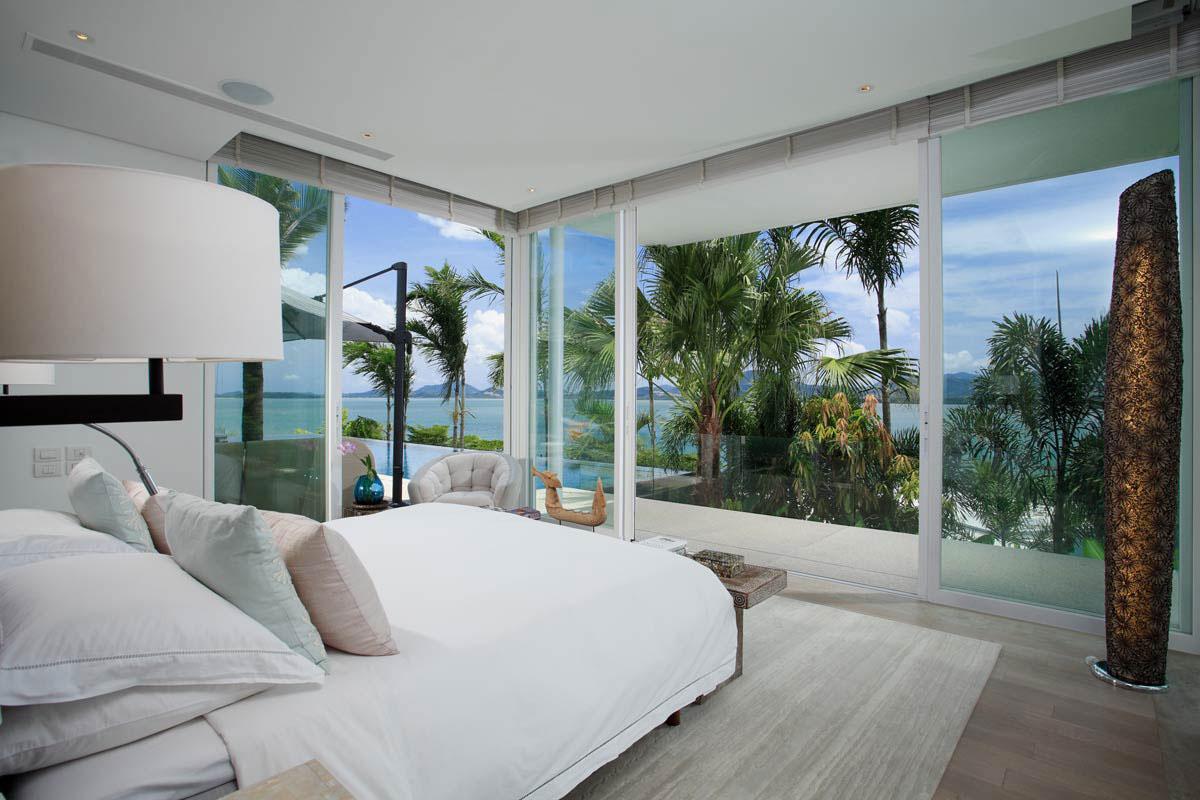 Bedroom, Glass Walls, Views, Oceanfront Villa in Phuket, Thailand