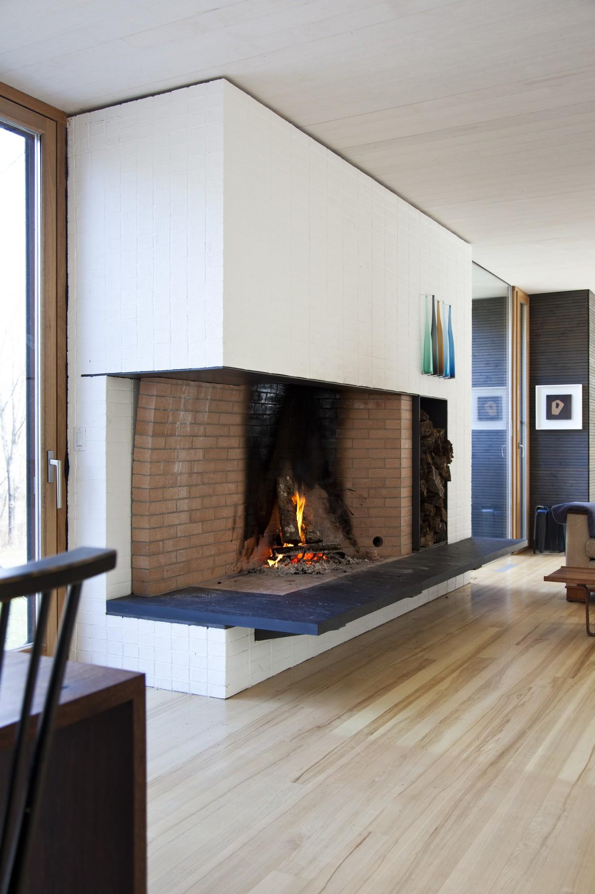 Contemporary Fireplace, Rural Retreat in Bantam, Connecticut