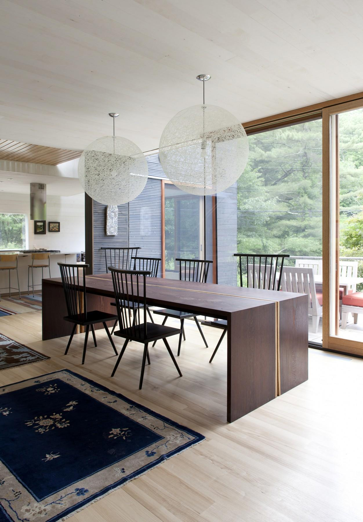 Dining Table, Lighting, Rural Retreat in Bantam, Connecticut