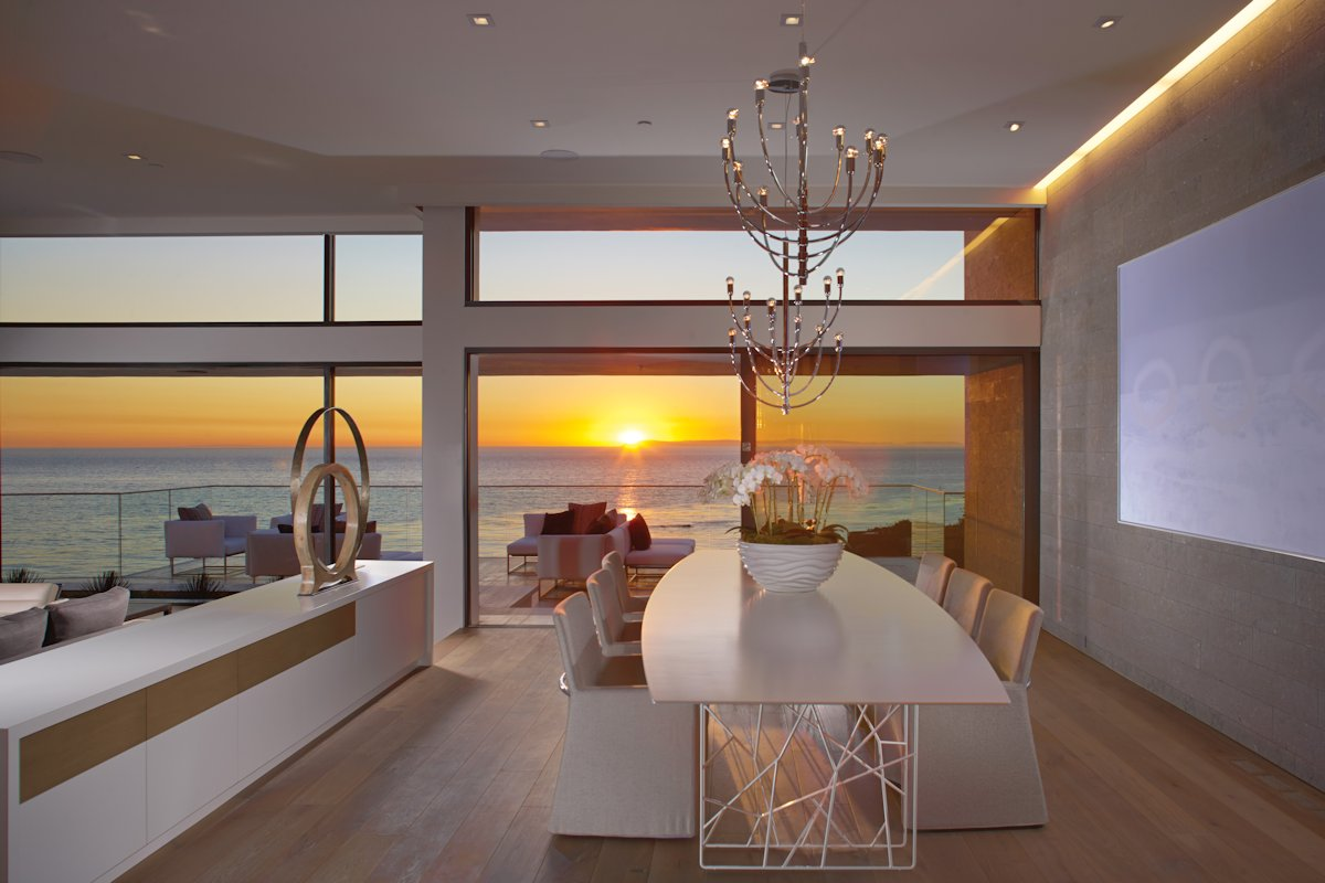 Dining Table, Lighting, Water Views, Beach House in Laguna Beach, California